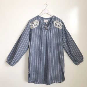 NWT Hayden Blue Chambray Striped Embroidered Dress